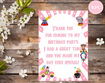 SALE!! Circus thank you cards. Circus themed party. Circus birthday party. Circus birthday decoration. Carnival birthday decoration.