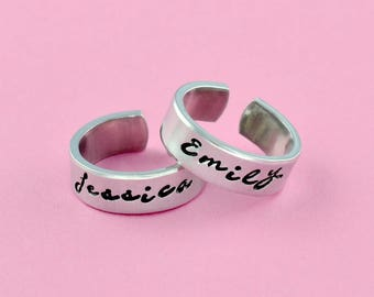 Name Rings - Hand Stamped Aluminum Cuff Rings Set of 2, Date, Initials, Favorite Words Rings, Mother Daughter Sisters Personalized Gifts