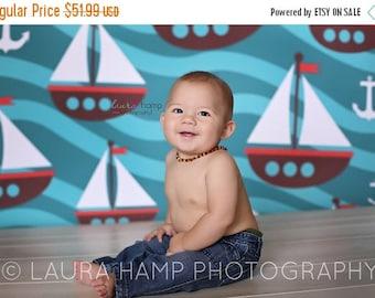 5ft x 5ft Ocean Theme Photography Backdrop Prop -  Sailing Photo Prop -  Blue Vinyl or Poly Back Drop - Item 1368