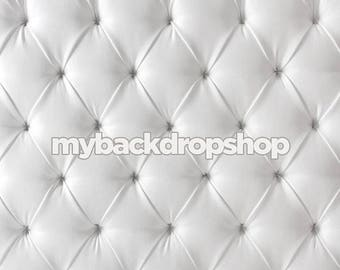 2ft x 2ft Upholstered White Tufted Fabric Photography Backdrop – White Headboard Bed Fabric Photography Backdrop -Vinyl or Poly - Item 1847
