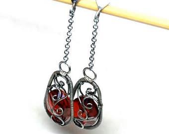 Swarovski Earrings, Silver Sterling Silver Earrings, Crystal Earrings, Wire Wrap