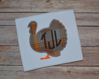 Boy Thanksgiving monogrammed shirt, Turkey monogrammed shirt, Boy fall shirt, Boy monogrammed fall shirt, Fall pictures, Plaid, gobble