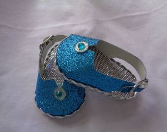 """Teal Blue Sparkle Princess 18"""" Doll Shoes-Sandals-Shown on my american girl doll"""