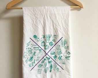 Flour Sack Tea Towel, Food Tea Towel, Vegetable Towel, Kale Towel, Kale Print, Seasonal Food Print