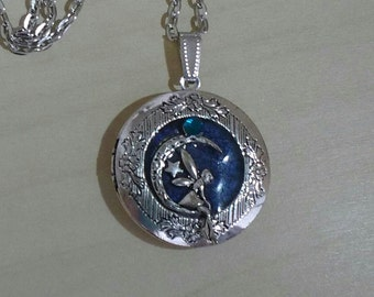 Antique Silver Moon Fairy Locket Hand made pendant