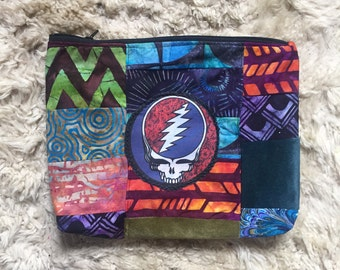 Grateful Dead Quilted Batik Velvet Accessory/Tolietries Bag