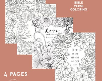 Bible Verse Coloring Pack, Scripture Coloring Pages, Christian Coloring Pages, Bible Verse Coloring, Adult Coloring Pages