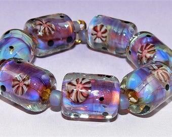 Handmade Lampwork Glass beads set of 7 barrel beads Purple Lavender Silver Glass SRA
