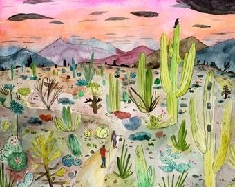 Cactus Forest print - 8x10