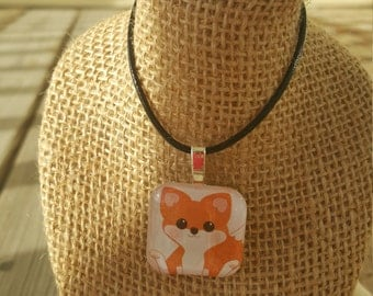 Glass Tile Necklace - Skunk or Fox