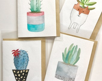 Set of 3 Original Hand Painted Cacti/Succulent cards - Handmade Cards - Watercolor Cards - Folded Cards