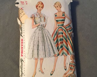 Darling 1950s Summer Frock with Jacket, Simplicty Pattern #3897, Size 11, Bust 29, VLV
