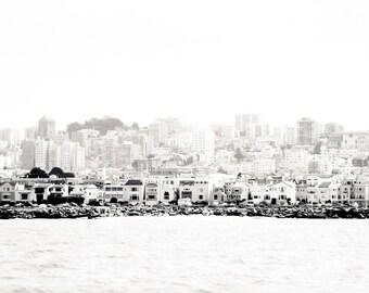 "San Francisco Art, Black and White Photography, Bay Photo, San Francisco Skyline, Vintage Print, San Francisco Architecture - ""Bay View"""