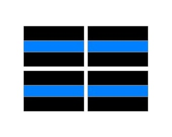 "Thin Blue Line Decal - Sheet of 4 - Police - 3"" x 2"" Full Color Printed Vinyl Stickers - Hard Hat - Helmet - Phone - Laptop - Etc."