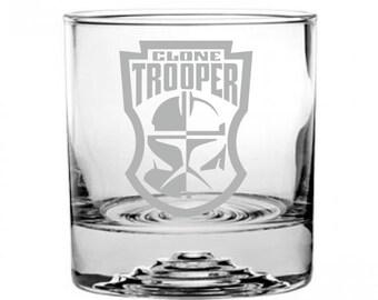 Star Wars Clone Trooper Badge Etched Rocks Glass