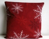 Red snowflake pillow cover, Christmas throw pillow, Monochromatic red, Holiday office decor, cozy winter home decoration, Holidays gift