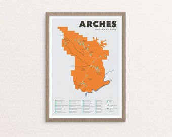 Arches National Park Map, Arches, Outdoors print, Explorer Wall Print