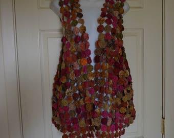 Vintage circle quilt yo yo fashion vest cut out no backing size medium Large XL boho bohemian