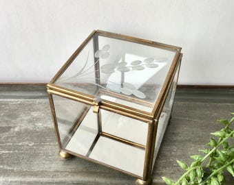 Vintage Glass and Brass Box