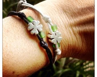 St. Patricks day, four leaf clover bracelet, friendship bracelets, shamrock, handmade anklet, gift for couple, gift for him, gift for her