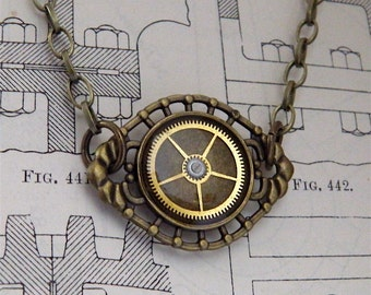 Steampunk Necklace / Pendant - Featuring Vintage Watch Gears. Jamlincrow