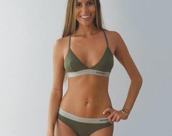 Women's Cheeky Brief Basic Army Green