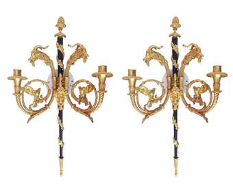 Sculptural 24-Karat Empire Style Wall Sconces Pair with Goat Heads