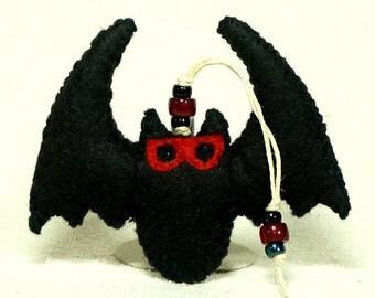 Felt Black Bat Ornament, Wool Felt Halloween Vampie Bat with Spooky Red Eyes* Ready to Ship