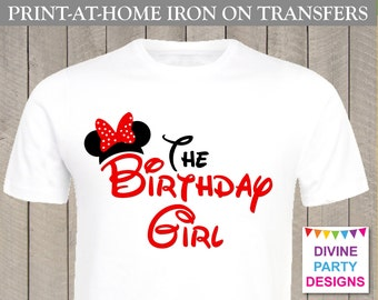 INSTANT DOWNLOAD Print at Home Red Mouse The Birthday Girl Printable Iron On Transfer / T-shirt ...