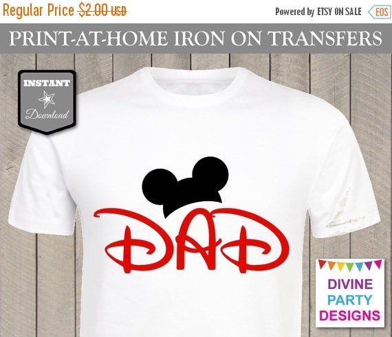 Sale instant download print at home mouse ears dad for Instant t shirt printing
