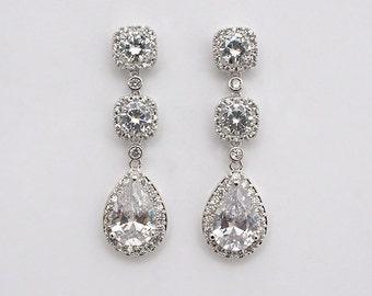 Aileen - Wedding Earrings, Cubic Zirconia Bridal Earrings, Rose Gold Crystal Teardrop Earrings, CZ Bridal Jewelry, Bridesmaid Gifts
