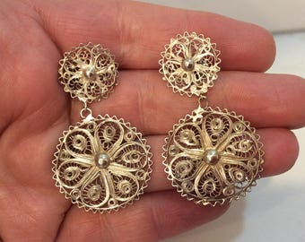 Antique sterling silver filigree chandelier earrings