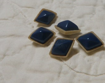 5 Celluloid Baby Doll Buttons Diamond Shape Small Buttons Navy Tan