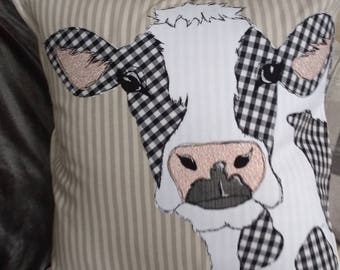 Patchwork machine embroidered cow cushion