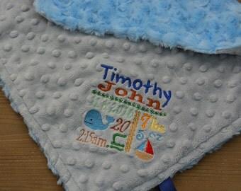 Minky Tag Blanket... Personalized Mini Baby Blanket For Boy... Minky Security Blanket
