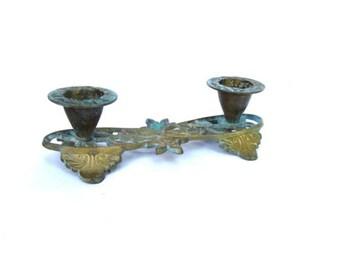 Copper vintage. Candelabra. Flower candle holder. Candelabra vintage. Copper wedding decor. Verdigris patina. Copper candle holder.