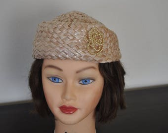 Vintage, Pink woven Cello straw hat with a faux pearl accent.