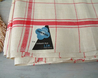French vintage long roll of pure linen tea towel fabric. Red stripe kitchen towel fabric. Rustic french country. Never used. New old stock