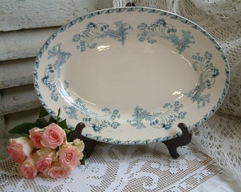 Antique french teal blue transferware large oval serving platter. Antique French blue transferware. Oval meat platter. Jeanne d'arc living.