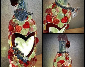 Valentine Hearts and Ring Wine Bottle Light