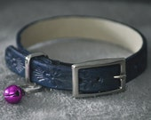 Ella Selection Beautiful patterned Blue Leather Cat Collar