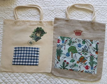 2 Cotton & Linen bags with front pocket