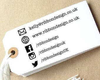 Medium Personalised, 'Logo Stamp' and 'Social Media Stamp' Custom Made Polymer Stamp, Mounted on Clear Acrylic Block, Small Business
