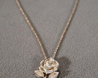Vintage Art Deco Style Sterling Silver Rose Design Line Link Necklace Dangle Jewerly -K#55