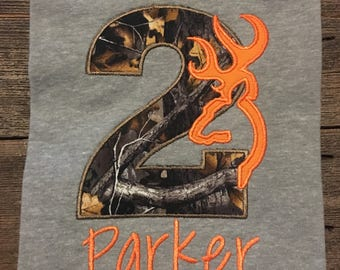 Camo birthday shirt/deer/orange/hunting/boy/personalized/embroidered/appliqué