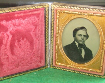 Original 1850's Ambrotype John Adams Boston - Descendant Of Founding Father - Father Of Leonard Bullard Adams Encased Photograph