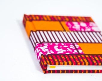 African Print Hardback Notebook - Professionally Bound - Pink And Orange Geometric