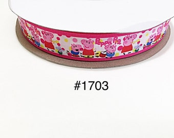 """3 or 5 yards 7/8"""" Peppa Pig and George playing drum Polka Dot on White  Grosgrain Ribbon Hair bow"""