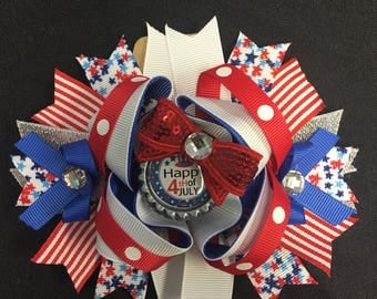 4th of July America Red White and Blue Hair Bow