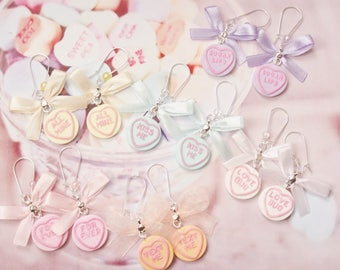 earrings candy heart polymer clay